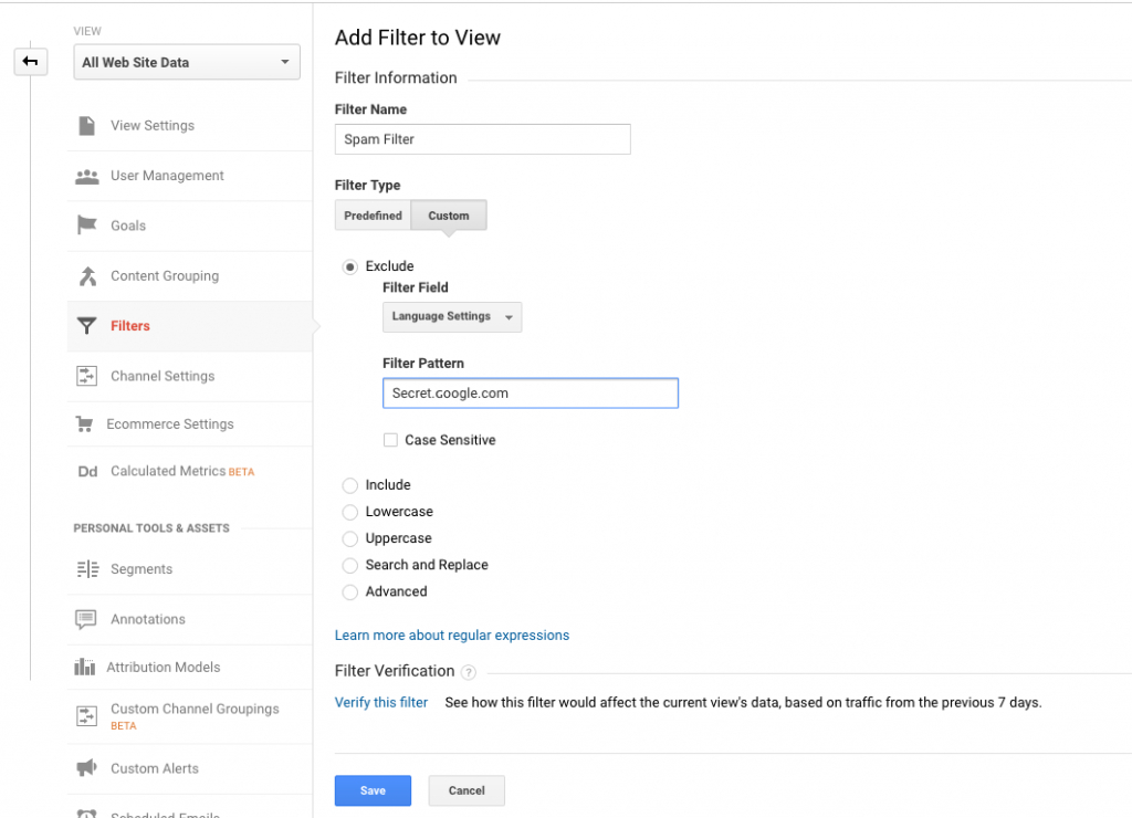 Here is the settings to filter out Seceret.Google.com